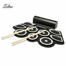 9 Pad Silicon Roll Up Electronic Drum With Drum Sticks and USB Cable For MIDI Game Percussion Instrumenst Drum Lover(China)