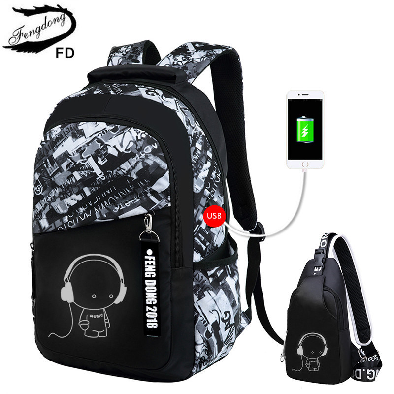 FengDong boys school bags letters waterproof large backpack for teenagers high school backpack for boy student casual travel bag<br>