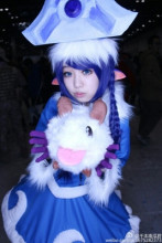 LOL Lulu Christmas Dress Cosplay Costume Custom-Made Velvet Dress Free Shipping +Hat