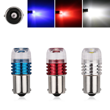 2X S25 1156 BA15S Strobe Flash Lens 3W LED P21W Turn Signal Lights Reverse Brake Bulbs Car Lamp White Red Blue DC 12V