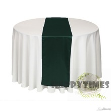 20 Pieces Dark Green Satin Table Runner For Round Table Table Linen for Wedding Table Ribbon Shiny Satin Fabric Free Shipping