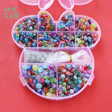 Free Shipping 650pcs DIY Plastic Acrylic Bead Kit Accessories Mixed Beads with Box For Girl Toys Jewelry Mix Beads DIY(China)