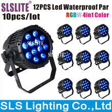 10PCS/LOT Outdoor Led Par With 10watt 12 pcs RGBW 4in1 led par stage light waterproof 4IN1 Multi-Color dmx led par 64 can