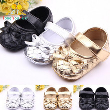 0-2 year girl first walk shoe gold silver and black leather material girl infant shoe with butterfly knot sapatinho de bebe 530