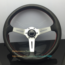 350mm Leather Racing Car Steering Wheel Universal Auto Racing Steering Wheel With Silver/Black/Titanium Arm(China)