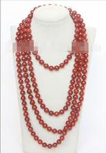 "FREE SHIPPING>>>  Vogue 90"" 10mm round red sponge coral beads necklace"