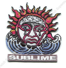 "3.5"" SUBLIME crying sun music Embroidered iron on patches for clothing American ska punk band collector cosplay halloween"