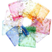100Pcs 10x12cm Heart Gift Bag Thanksgiving Organza Candy Valentines Day Drawstring Birthday Party Decoration Wrap