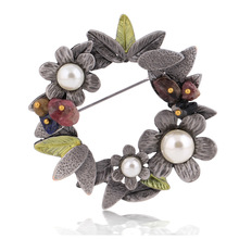 chenlege bouquet plant leaf women brooches enamel flower imitation pearl vintage brooch hijab fashion natural stone pins jewelry