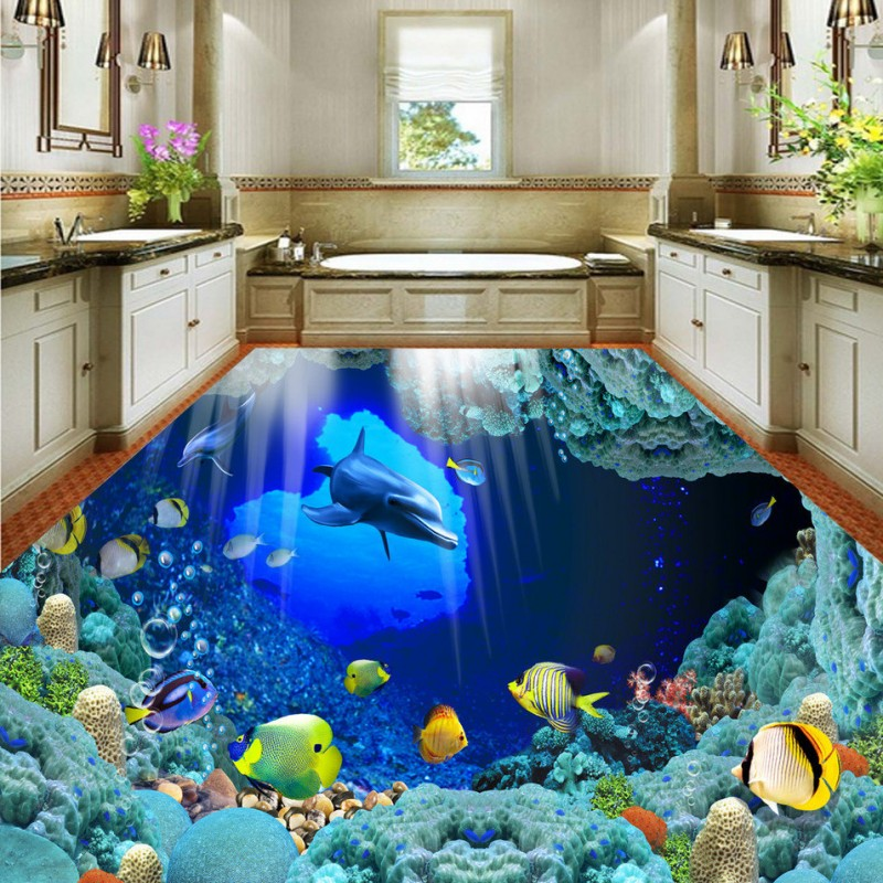 Free Shipping shopping mall bookstore floor mural 3D underwater world dolphin slef-adhesive floor wallpaper<br>