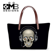 Dispalang 3D skull head print women shoulder bags stylish OL style office hand bags ladies cool punk top-handle bags woman totes(China)