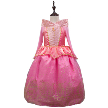 Vintage Sleeping Beauty Princess costume spring autumn pink girl dress Princess Aurora Dresses for girls party Costume free ship(China)