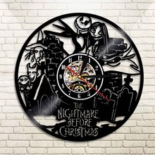 1Piece Nightmare Before Christmas Led Wall Light Made of Vinyl Record Vinyl Clock Wall Art Cool Living Room Interior Decor Gift