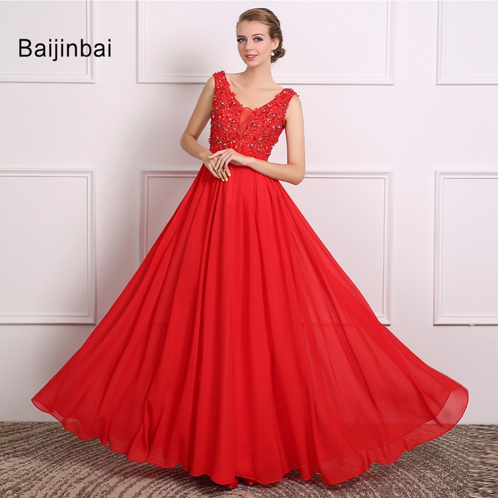 Baijinbai New Arrival 2017 Vestido De Noiva Beautiful Red Wedding Dresses V Neck Appliques Beading Tank Bridal Party Dress710111