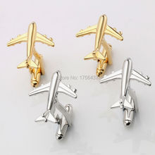 Lepton Fashion Plane Styling Cufflinks For Mens Hot Sale Real Tie Clip AirPlane Cuff links Plane Design Cufflinks for Men Gifts(China)