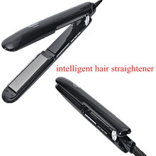 NASV Electric Intelligent Titanium Flat Iron Ceramic Hair Straightener With Teeth Name Brand Hair Salon Flat Iron(China)