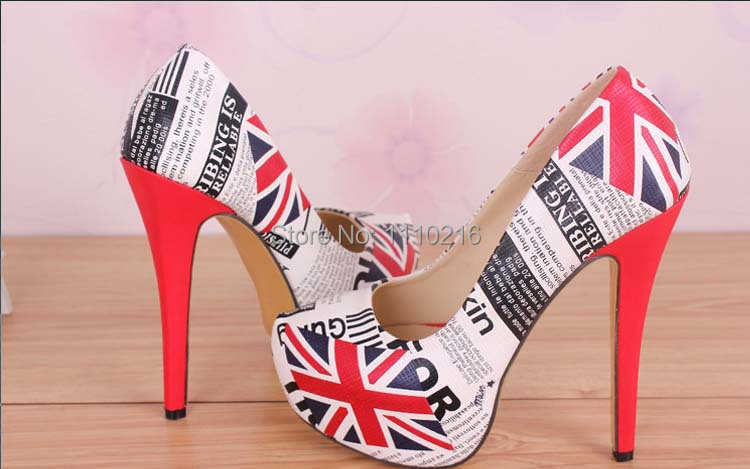 14 cm 2017 new fashion printed british flag thin high heels platform womens pumps ladies slip-on single shoes big size 34-45<br><br>Aliexpress