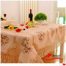 2016 zakka home natural cotton crochet lace tablecloth for round table embroidered-tablecloths for kitchen decoration wholesael