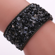 Exquisite Gravel stone bracelet 22cm Handmade Gravel Stone Crystal Wristband Leather Bracelet Jewelry Gift(China)