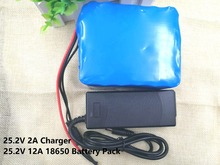 25.2V 12Ah 12000mah 6S6P Electric vehicles 18650 Li-lon Battery Pack Portable Backup Power PCB + 24 v (25.2 v) 2A Charger(China)