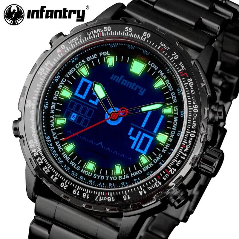 INFANTRY Men Watches Top Luxury Brand Full Steel Quartz LED Display Sports Watch Men Military Digital Watch Relogio Masculino<br>