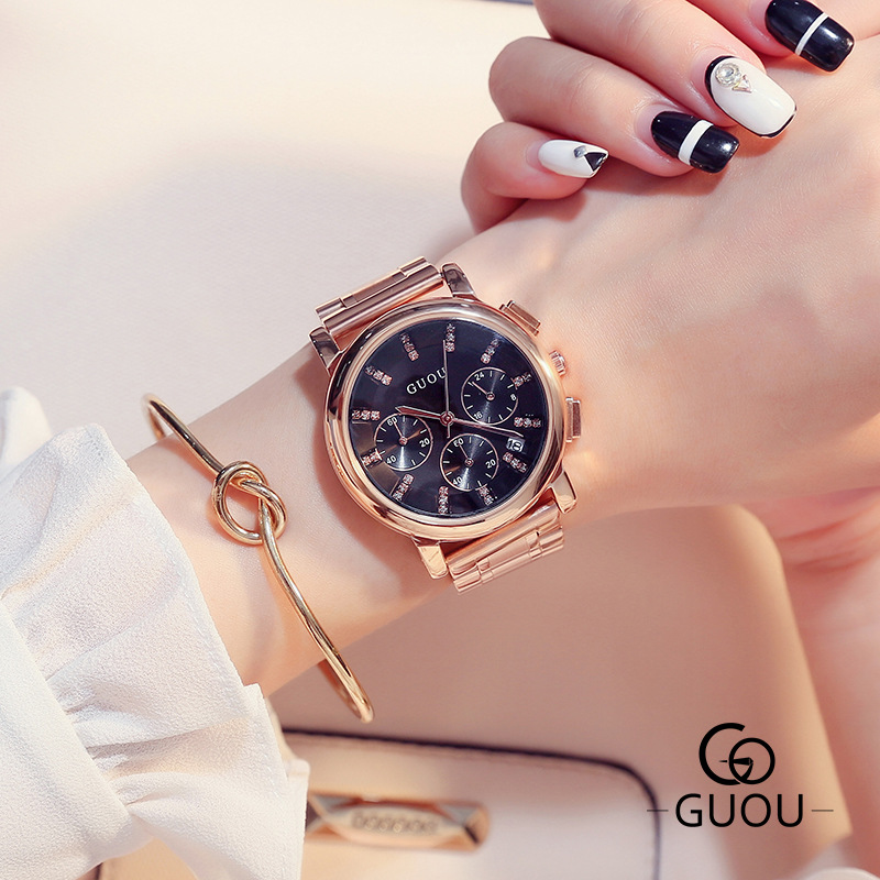 GUOU Watch Women Vogue Casual Diamond Watch Luxury Rhinestone Women Watches Full Steel Clock Women relogio feminino reloj mujer<br>