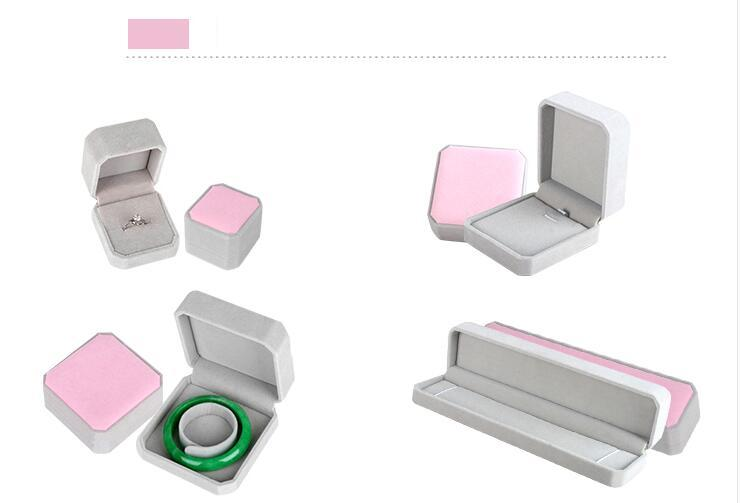 Pink Gray Square Velvet Engagement Wedding Jewelry Display Storage Box Case (Ring Pendant Bracelet Necklace)<br><br>Aliexpress