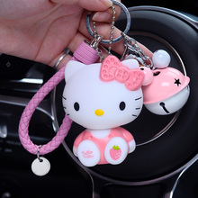 Cartoon Cute Sitting Position Hello Kitty Keychain Bell Leather Rope KT Key Ring Women Car Purse Charm Pendant Key Chains Holder