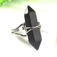 UMY Silver Plated Hexagon Column Wire Winding Resizable Black Onyx Ring Charm Jewelry