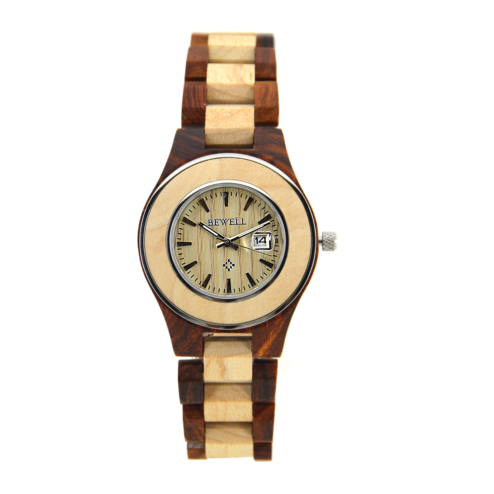 BEWELL Women Wood Watches Fashion Casual Quartz Watch Calendar Display Round Dial Luminous Pointers Ladies Relogio Box 100AL<br>