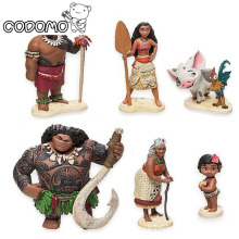 6pcs/lot Moana princess boneca action figure toys set 2017 New Moana dolls Pua Maui Heihei Oyuncak birthday party supply decor