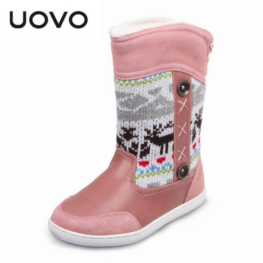 size 28-38 UOVO Brand kids winter snow boots boys girls Plus velvet thicken boots Children fashion boots Christmas party shoes<br>