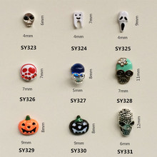 50pcs/lot Metal Pumpkin Skull 3d Alloy Nail Art Decoration Nail Jewelry DIY Beauty Halloween Nail Accesories