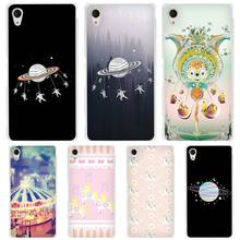 Astronauts Merry Go Round Planet Space Clear Case Cover for Sony Xperia z1 z2 z3 z4 z5 m4 Aqua m5 X XA XA1 XZ E4 E5 Compact C4 C