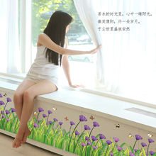 Factory Direct Wholesale Flowers Baseboard Wall Stickers Purple Cornflower and butterfly Kitchen Porch Pvc Wall Stickers
