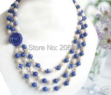 fashion jewelry 7-8MM White fresh water Pearl blue jade Necklace  free shipping