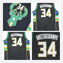 Atacado 2015-2016 New #34 Giannis Antetokounmpo Preto Jersey Duplo Costurado Basquetebol Jerseys Shirt do Uniforme Anti-Pilling