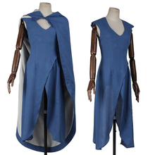 High Quality Game of Thrones Daenerys Targaryen Cosplay Costume Blue Dress Cloak Any Size Custom Made