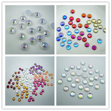 hotfix round multi-faceted glazed faceted 8mm AB resin crystal flat back cothes shoes decorations applique rhinestones 100pcs