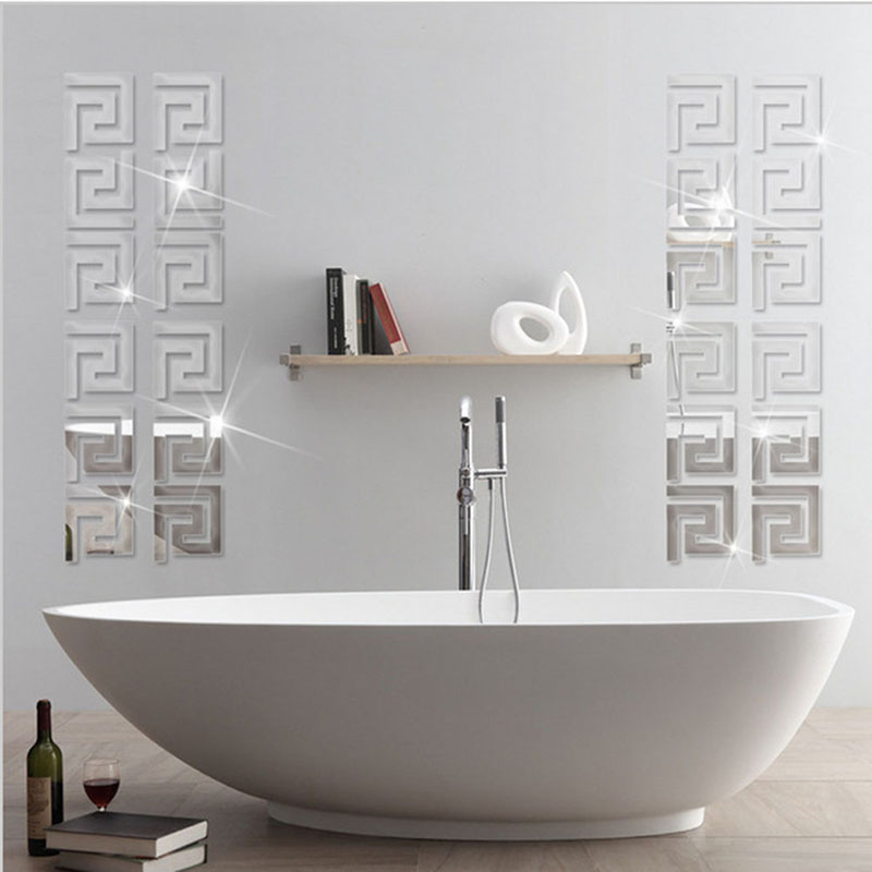 Factory Price! 10pcs Modern Geometric Mirror-Like Reflective Wall Border Sticker for Bedroom Living Room Dining Hot(China (Mainland))