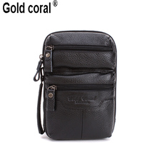 Gold coral multifunctional genuine leather male waist pack genuine leather casual bag small messenger bag first layer of cowhide
