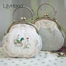 LilyHood 2017 Women Shabby Chic Lace Shoulder Bag Handmade Retro Embroidery Country Rustic Frame Funky Cute Kiss Lock Small Bags(China)