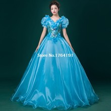 Brand New Light Blue Short Sleeveless Cinderella Dresses Costume,Silk Appliques Marie Antoinette Party Ball Gown For Women
