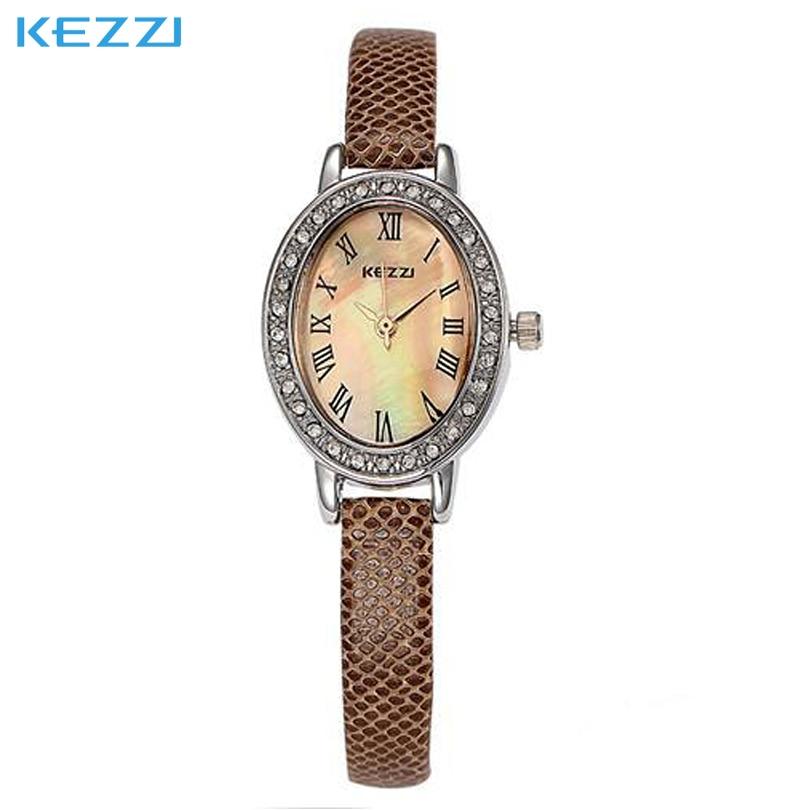30  Form of Original Hot Women High Quality Kezzi Brand Quartz Dress Watches, Dial Leather Strap Watch Girl Rhinestone Ellipse <br><br>Aliexpress
