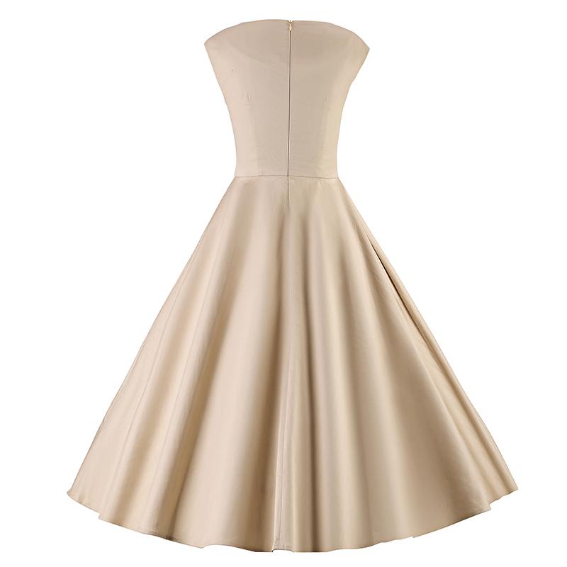 Kostlich 6 Color Retro Summer Dress Women 2017 Sleeveless Hepburn 50s Vintage Dress Elegant Big Swing Rockabilly Party Dresses (26)