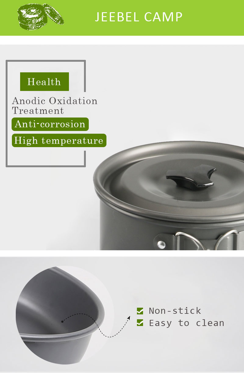 Outdoor Camping Picnic Aluminum Alloy Tableware Cookware Pots Frying Pan Bowl Set For Camping Outdoor Travel High Quality 02