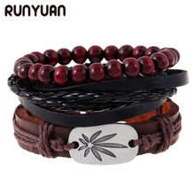 RUNYUAN 3pcs/Set Leaves Charm Leather Bracelet Wood Beads Beaded Multilayer Hemp Rope Bracelet For Men Cuff Women Jewelry