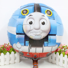 New Arrived 5pcs 18 inch Round Thomas And Friend Foil Balloons Cartoon Thomas Mylar Balloons For Child Birthday Party(China)
