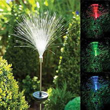 Tanbaby 2pcs Solar Power Fiber Optic Landscape Lighting RGB Color Changing In-Ground lamp for Outdoor Garden Lawn Decoration(China)