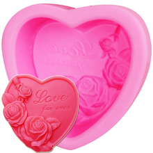 S096 3D Silicone Soap Mold Heart Love Rose Flower Chocolate Mould Candle Polymer Clay Molds Craft Forms Soap Base Tool 9*9.5*4CM(China)
